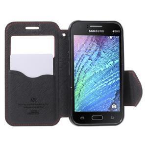 Kožené puzdro s okienkom Samsung Galaxy J1 - červené/čierné - 2