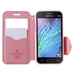 Kožené puzdro s okienkom Samsung Galaxy J1 - rose/ružové - 2