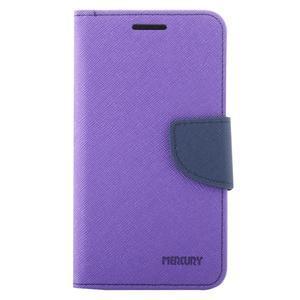 Diary PU kožené puzdro pre Samsung Galaxy J1 (2016) - fialové - 2