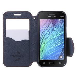 Kožené puzdro s okýnkem Samsung Galaxy J1 - oranžové/tmavě modré - 2