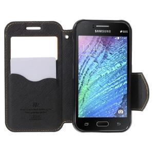 Kožené puzdro s okienkom Samsung Galaxy J1 - žlté/čierné - 2