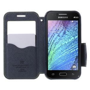 Kožené puzdro s okienkom Samsung Galaxy J1 - zelené/tmavo modré - 2