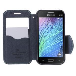 Kožené puzdro s okýnkem Samsung Galaxy J1 - světle modré/tmavě modré - 2