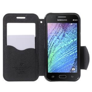 Kožené puzdro s okýnkem Samsung Galaxy J1 - tmavě modré/čierné - 2