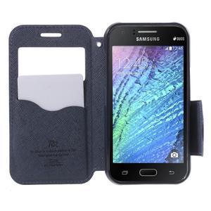 Kožené puzdro s okienkom Samsung Galaxy J1 - fialové/tmavo modré - 2