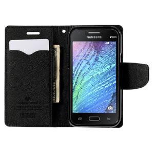 Čierné kožené puzdro pre Samsung Galaxy J1 - 2