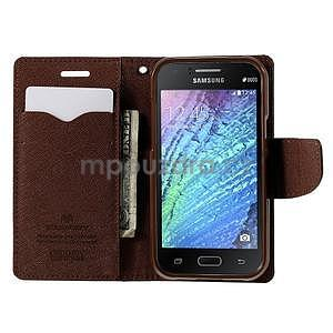 Čierné/hnedé kožené puzdro pre Samsung Galaxy J1 - 2