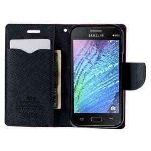 Červené/tmavě modré kožené puzdro na Samsung Galaxy J1 - 2
