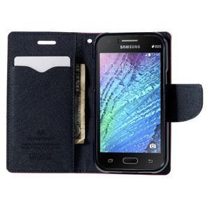 Rose/tmavo modré kožené puzdro pre Samsung Galaxy J1 - 2