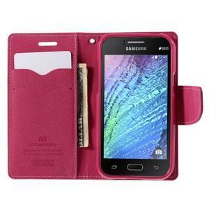 Růžové/rose kožené puzdro na Samsung Galaxy J1 - 2