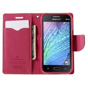 Žluté/rose kožené puzdro na Samsung Galaxy J1 - 2