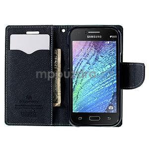Azurové/tmavě modré kožené puzdro na Samsung Galaxy J1 - 2