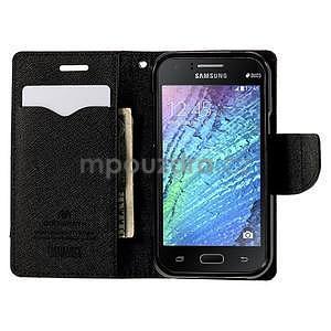 hnedé/čierné kožené puzdro na Samsung Galaxy J1 - 2