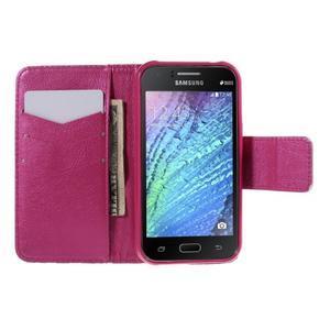 Zapínací puzdro pre Samsung Galaxy J1 - červená květina - 2