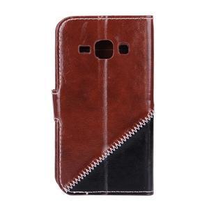 Peňaženkové puzdro Diagonal pre Samsung Galaxy J1 - hnedé/čierné - 2