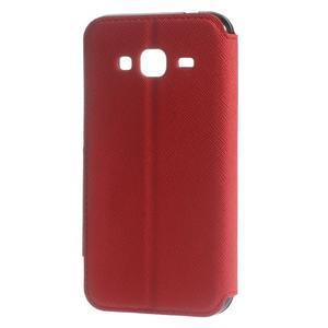 Roar PU kožené puzdro s okienkom pre Samsung Galaxy J3 (2016) - červené - 2