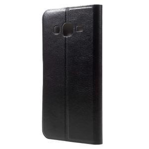 Horse PU kožené penženkové pouzdro na Samsung Galaxy J3 (2016) - černé - 2