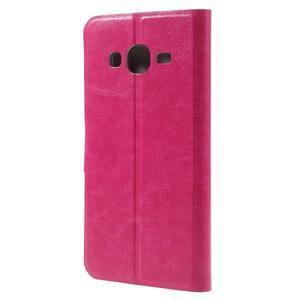 Horse PU kožené penženkové puzdro pre Samsung Galaxy J3 (2016) - rose - 2
