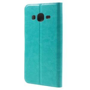 Horse PU kožené penženkové puzdro pre Samsung Galaxy J3 (2016) - modré - 2