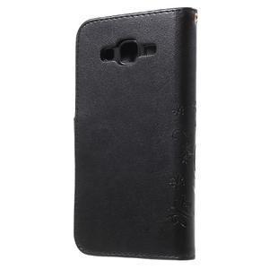 Butterfly PU kožené pouzdro na Samsung Galaxy J5 - černé - 2
