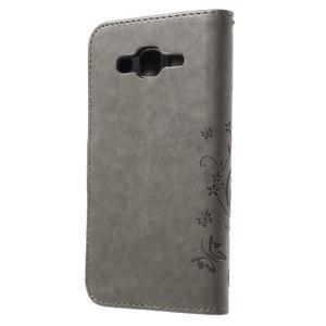Butterfly PU kožené puzdro pre Samsung Galaxy J5 - šedé - 2