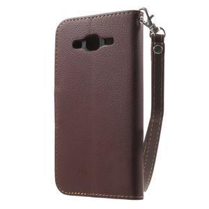 Leaf peňaženkové puzdro pre Samsung Galaxy J5 - hnedé - 2
