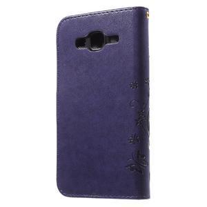 Butterfly PU kožené puzdro pre Samsung Galaxy J5 - fialové - 2