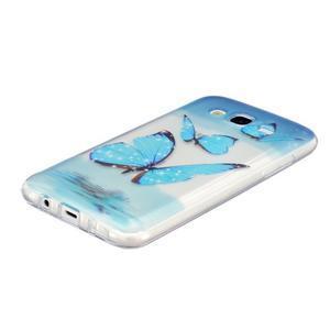 Trans gelový obal na mobil Samsung Galaxy J5 - modří motýlci - 2