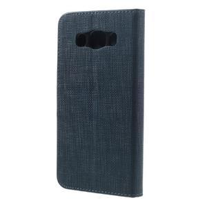 Cloth PU kožené puzdro pre Samsung Galaxy J5 (2016) - tmavomodré - 2