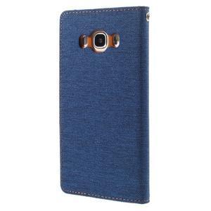 Canvas PU kožené/textilní pouzdro na Samsung Galaxy J5 (2016) - modré - 2