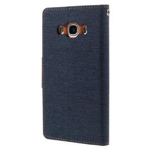 Canvas PU kožené/textilní pouzdro na Samsung Galaxy J5 (2016) - tmavěmodré - 2