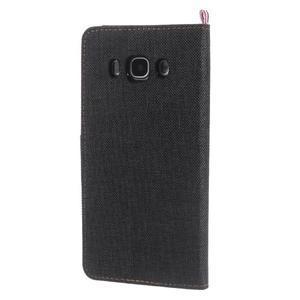 Denim peněženkové pouzdro na Samsung Galaxy J5 (2016) - černé - 2