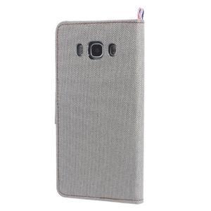 Denim peňaženkové puzdro pre Samsung Galaxy J5 (2016) - šedé - 2