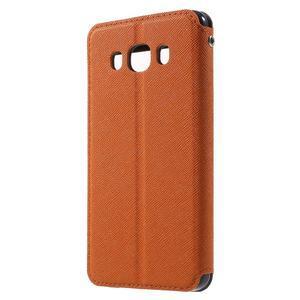Knížkové puzdro s okienkom pre Samsung Galaxy J5 (2016) - oranžové - 2