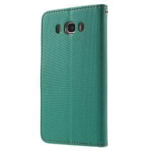 Gentle PU kožené peňaženkové puzdro pre Samsung Galaxy J5 (2016) - zelenomodré - 2