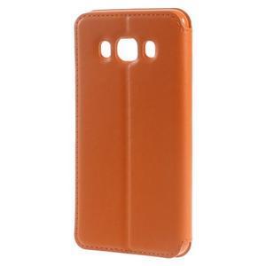 Royal puzdro s okienkom pre Samsung Galaxy J5 (2016) - oranžové - 2