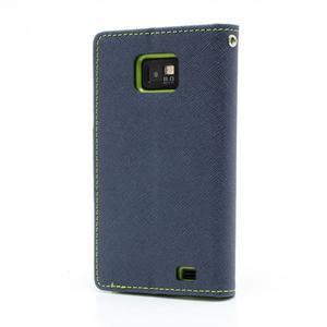 Diary PU kožené pouzdro na mobil Samsung Galaxy S2 - tmavěmodré - 2
