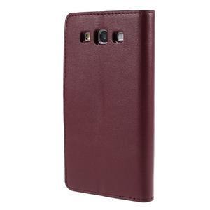 Diary PU kožené puzdro pre mobil Samsung Galaxy S3 - vínové - 2