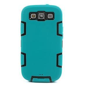 Odolné silikonové pouzdro na mobil Samsung Galaxy S3 - modré/černé - 2