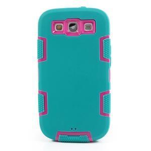 Odolné silikonové pouzdro na mobil Samsung Galaxy S3 - modré/rose - 2