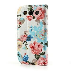 Květinové pouzdro na mobil Samsung Galaxy S3 - bílé poazdí - 2