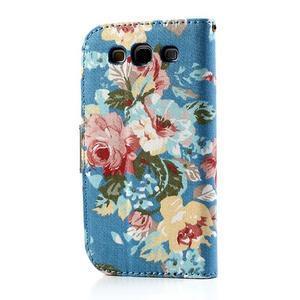 Kvetinové puzdro pre mobil Samsung Galaxy S3 - modré pozadie - 2