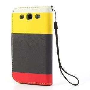 Tricolors PU kožené puzdro pre mobil Samsung Galaxy S3 - čierný stred II - 2