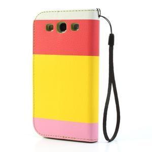 Tricolors PU kožené pouzdro na mobil Samsung Galaxy S3 - žlutý střed - 2
