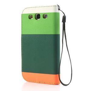 Tricolors PU kožené puzdro pre mobil Samsung Galaxy S3 - tmavozelený stred - 2