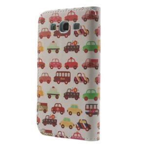 Knížečkové puzdro pre Samsung Galaxy S3 - autíčka - 2