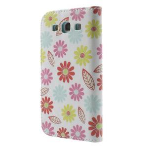 Knížečkové pouzdro na Samsung Galaxy S3 - květinky - 2