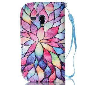 Knížkové PU kožené puzdro pre Samsung Galaxy S3 mini - farebné kvety - 2