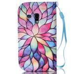Knížkové PU kožené puzdro pre Samsung Galaxy S3 mini - farebné kvety - 2/7