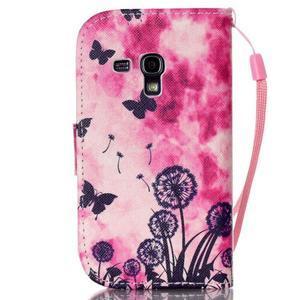 Knížkové PU kožené puzdro pre Samsung Galaxy S3 mini - motýle - 2